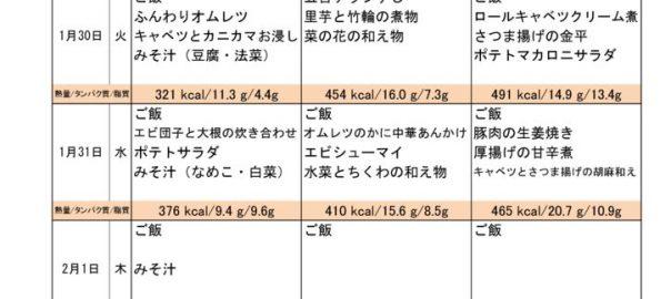 つくも苑献立表H30128のサムネイル