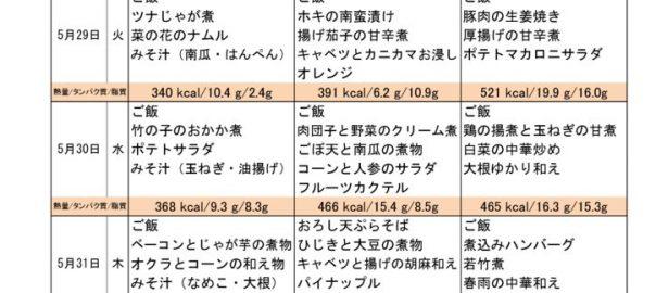 つくも苑献立表H300527のサムネイル