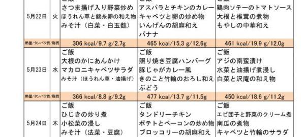 つくも苑献立表H300520のサムネイル